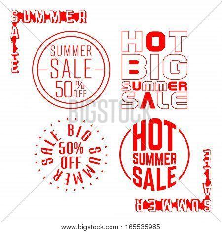 Summer sale stamp. Set of sale red label. Vector illustration.