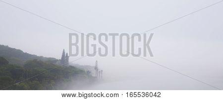 Misty River Scene Banner