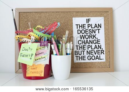 Motivation success goals business concept motivational quote note in office