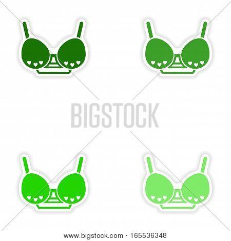 concept stylish paper sticker on white background brassiere