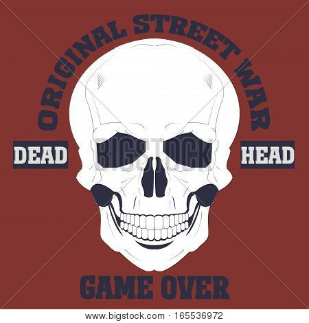 Skulls vector Grunge. Dead head. Game over t-shirt
