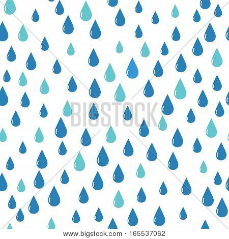 Water Drops Pattern Blue Color. Stock vector illustration