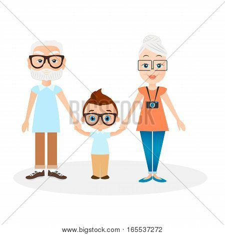 Grandparents with grandson. Vector illustration eps 10 isolated on white background. Flat cartoon style