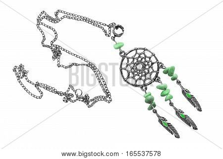 Silver dream catcher on a chain isolated over white