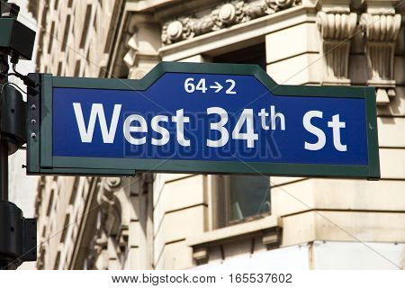 West 34th street sign near Herald Square in Manhattan New York City NYC