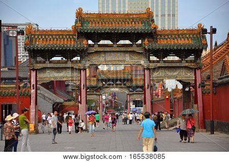 SHENYANG, CHINA - JUL.26, 2012: Wende Gateway at the entrance of Shenyang Imperial Palace Mukden Palace, Shenyang, China. Shenyang Imperial Palace is UNESCO world heritage site built in 400 years ago.