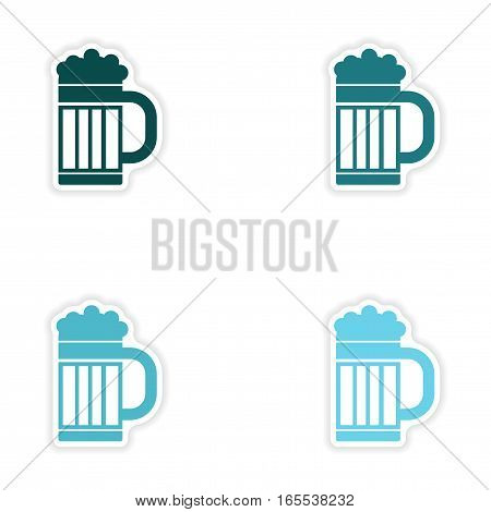 concept stylish paper sticker on white background glass beer