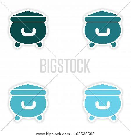 concept stylish paper sticker on white background cauldron coins