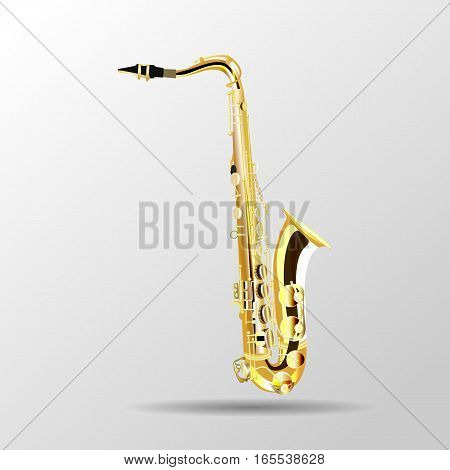 Saxophone isolated on a light background, vector illustration