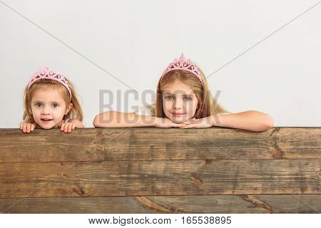 We are waiting for our princes. Interested two sisters are peeking over wood fence with curiosity. They are wearing pink crowns and smiling