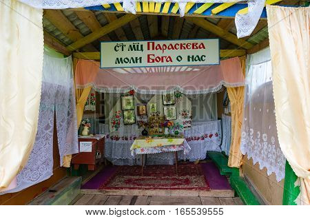 SHERSTIN BELARUS - MAY 4 2016: Holy spring in village Sherstin Vetka district Gomel region Belarus. Inscription: