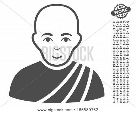 Buddhist Monk icon with bonus men pictures. Vector illustration style is flat iconic gray symbols on white background.