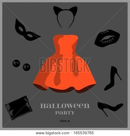 Halloween set of clothes: a red dress, black shoes, a black clutch, black earrings, masquerade mask and hair band