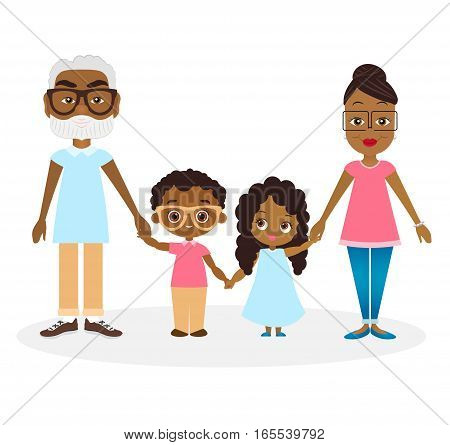 African american Grandparents with grandson and granddaughter. African american family hold hands. Vector illustration eps 10 isolated on white background. Flat cartoon style