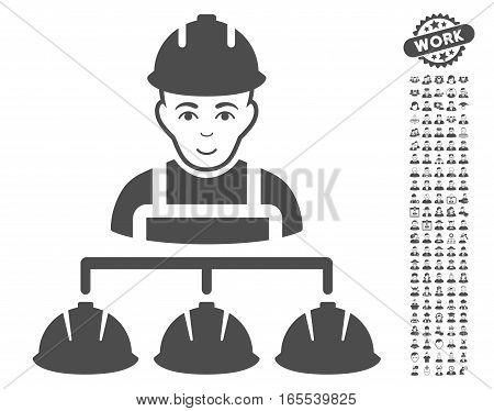 Builder Management pictograph with bonus avatar images. Vector illustration style is flat iconic gray symbols on white background.
