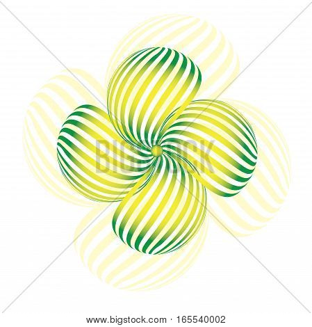 Green striped flower with shadow. Logo vector
