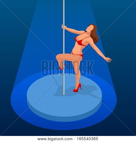 Young sexy woman exercise pole dance on a dark background. Isometric vector people