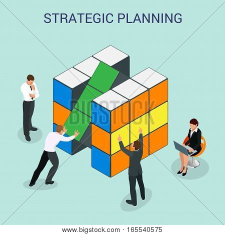 Abstract 3d cubes wall infographic design elements layout template for presentation strategic planning or Startup business plan vector illustration. For infographics and design.