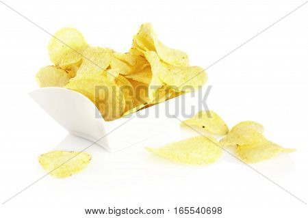 Salted Potato Crisps In The Bowl On White Background