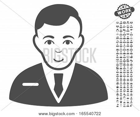 Businessman pictograph with bonus human images. Vector illustration style is flat iconic gray symbols on white background.
