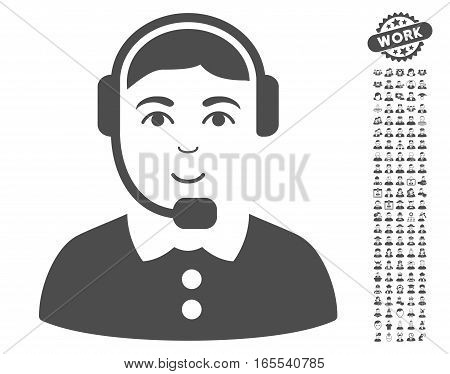 Call Center Operator icon with bonus men pictures. Vector illustration style is flat iconic gray symbols on white background.