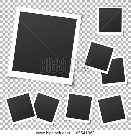 Collection of vintage photo frames. Old photo frame with transparent shadow on background. Vector illustration for your photos. Decorative vector template can be use for pictures or memories.