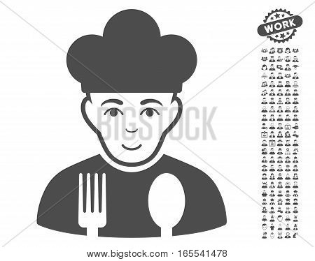 Cook icon with bonus human clip art. Vector illustration style is flat iconic gray symbols on white background.
