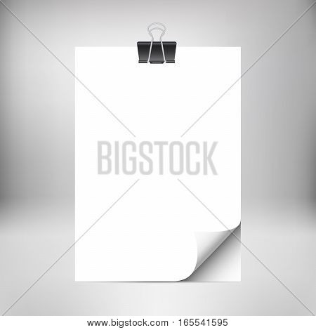 Close up empty paper sheets with curled corner isolated on studio background. Photo realistic paper with paper clip and shadow. Vector stack of papers. Mockup design.