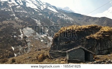 hut on MBC (Machapuchare base camp) along the way to Annapurna base camp Nepal