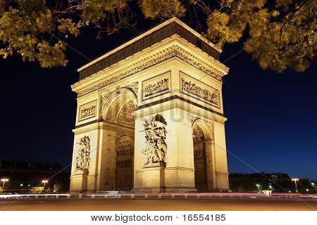 The international landmark the Arc de Triomphe in Paris