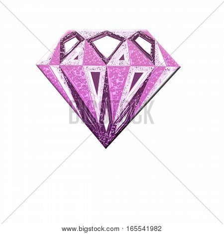 Pink diamond symbol. Diamond illustration in a flat style. faceted gem