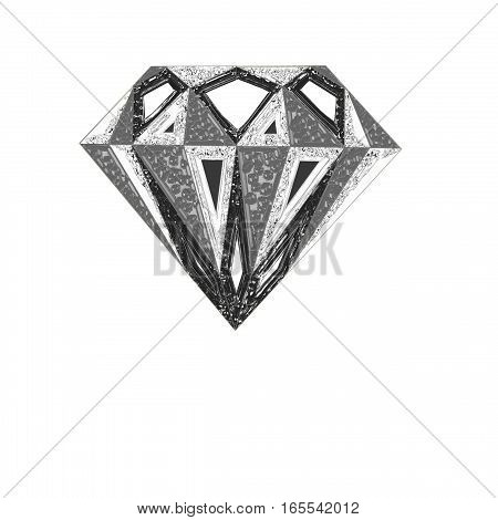 . Diamond illustration in a flat style. faceted gem