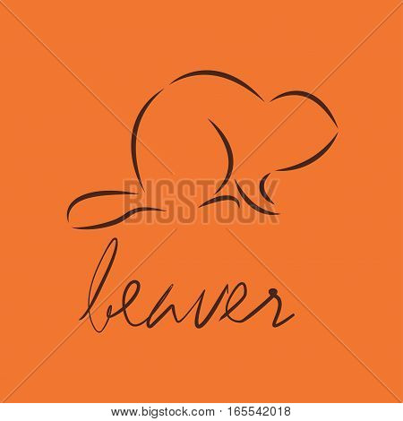 Silhouette of a beaver, template logo design. Vector illustration eps10