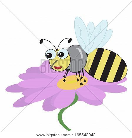 good fun bee sat on a purple daisy flower