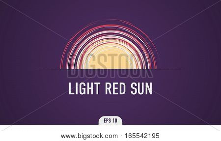 Abstract banner template in the form of the sun with rays and signature