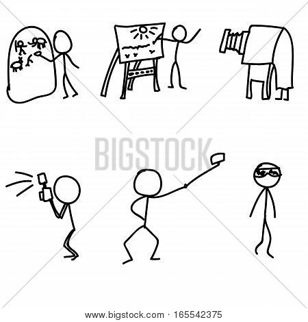 stick man evolution photo vector illustration art