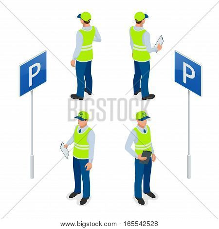 Isometric Parking Attendant. Traffic warden, getting parking ticket or parking ticket fine mandate. Flat vector 3d illustration