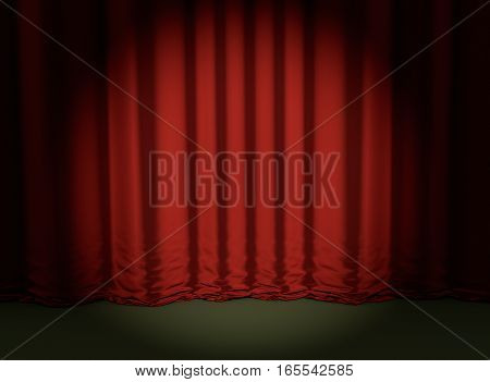 theater red curtain backdrop concert event 3D illustration