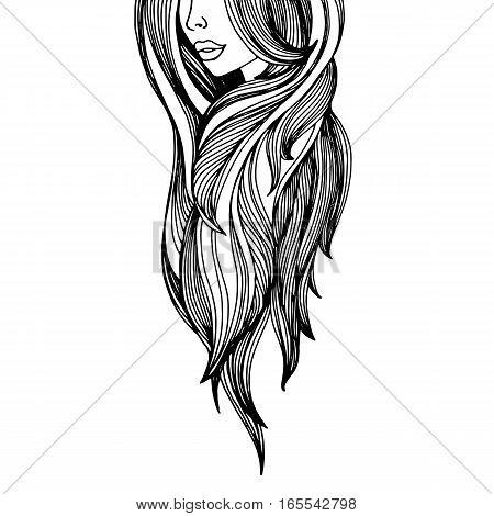 beauty beautiful hair vector girl portrait young