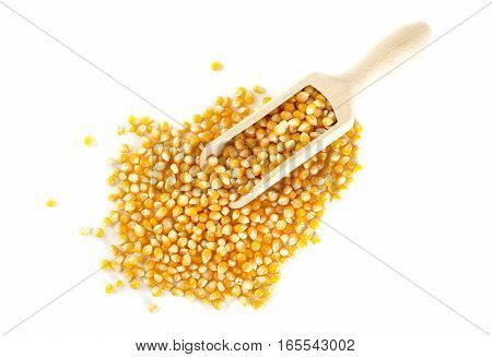Scattered Dried Corn With Scoop From Above On White