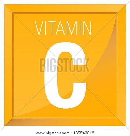 VITAMIN C Icon - Chemistry -  square frame with Orange yellow background