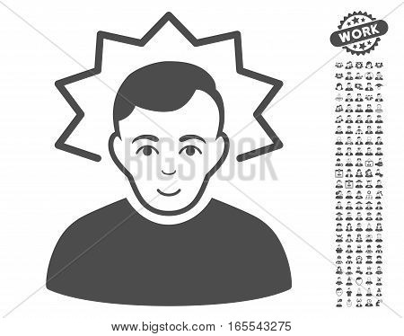 Inventor pictograph with bonus men clip art. Vector illustration style is flat iconic gray symbols on white background.