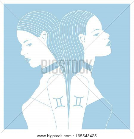 Zodiac. Vector illustration of Gemini as two girls. Isolated on light blue background