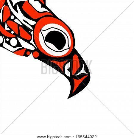 totem bird indigenous art stylization on white background with