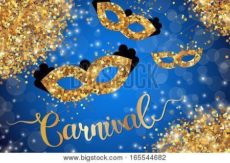 Carnival poster, flyer or invitation design. Vector illustration. Funfair gold ticket design with masks and lettering. Glowing blue background
