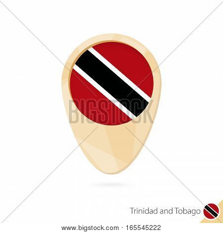 Map Pointer With Flag Of Trinidad And Tobago. Orange Abstract Map Icon.