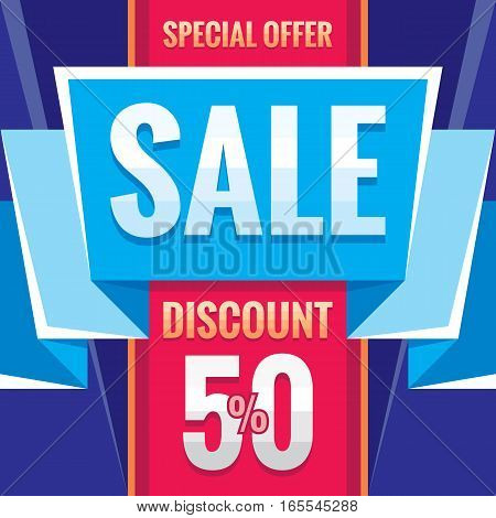 Sale - business banner creative vector illustration. Special offer abstract promotion advertising layout. Discount 50% concept decorative geometric background. Origami ribbon design element.