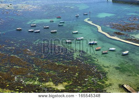 Boats, view from Phare d'Eckmuehl, Finistere, Brittany, France
