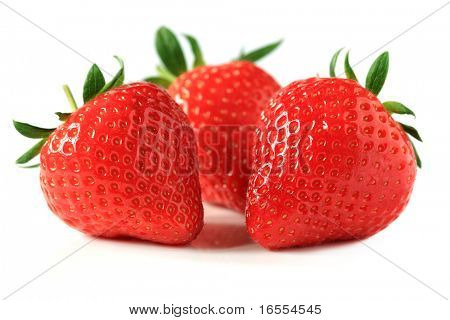 Fresh ripe red strawberries isolated on white