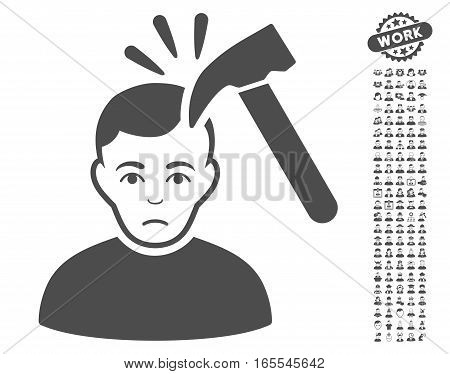 Murder With Hammer pictograph with bonus men graphic icons. Vector illustration style is flat iconic gray symbols on white background.